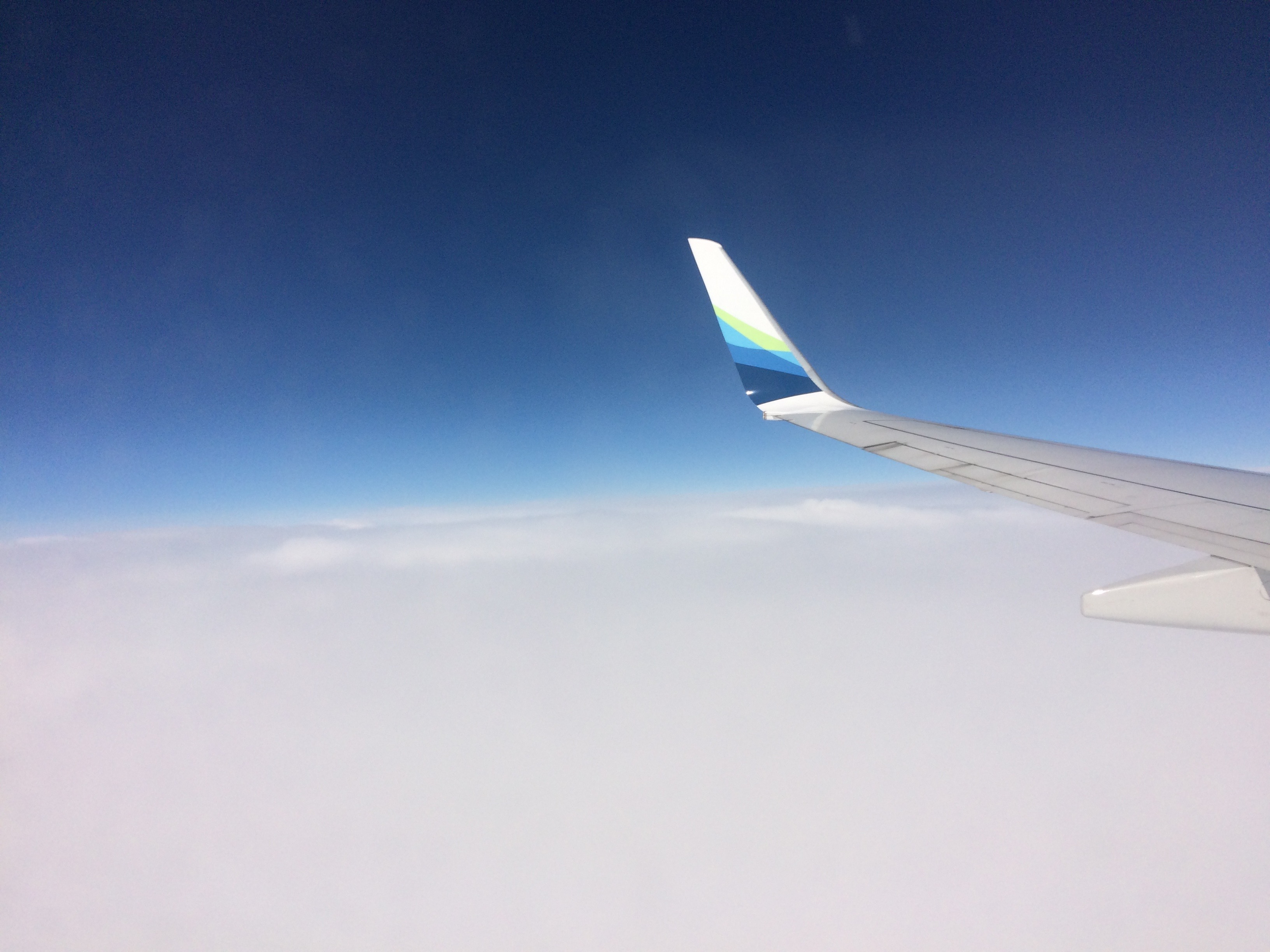 airplane, wing, sky